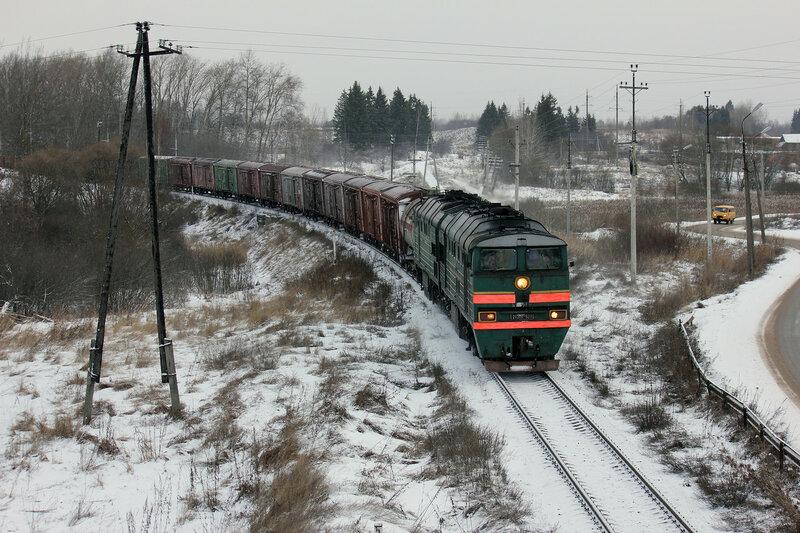 2ТЭ116-623 на перегоне Горушки-Невельские - Невель-2