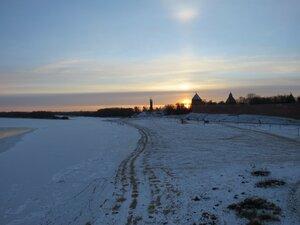 Закат солнца над Кремлем - Новый год в Великом Новгороде