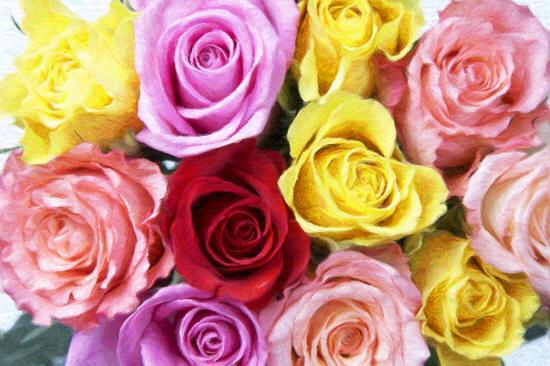 намальований букет троянд