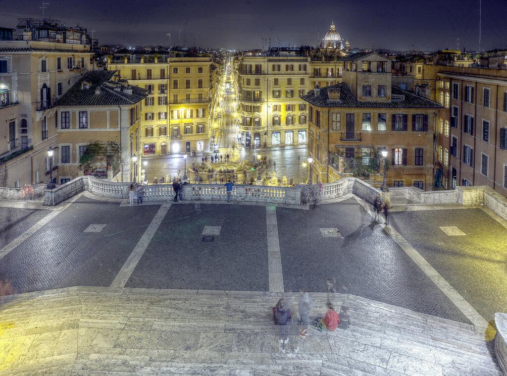 Ночной Рим. Площадь Испании