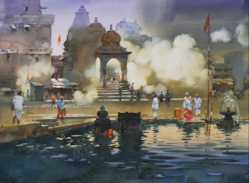 Прафул Савант, «Священное утро на Godha Ghat», Индия