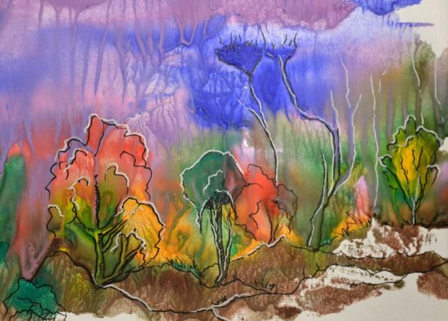 Наровную гладкую поверхность (например, стекло) краской наносится рисунок. Потом прикладывается лис