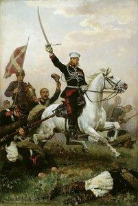 Генерал М.Д.Скобелев на коне.
