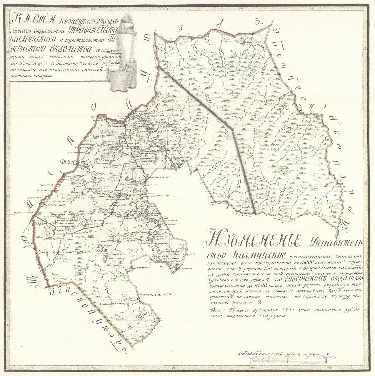 16. Карта Кузнецкаго Уезда Касминскаго Управительства