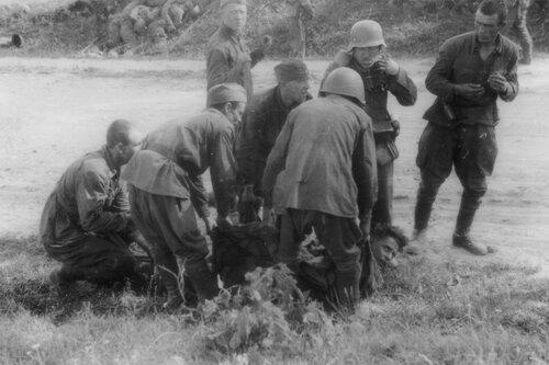 Пленные красноармейцы несут раненного немецкого солдата. Эстония, лето 1941 года.