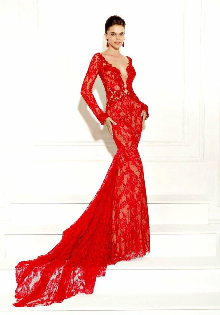 Черно-красное платье из атласа