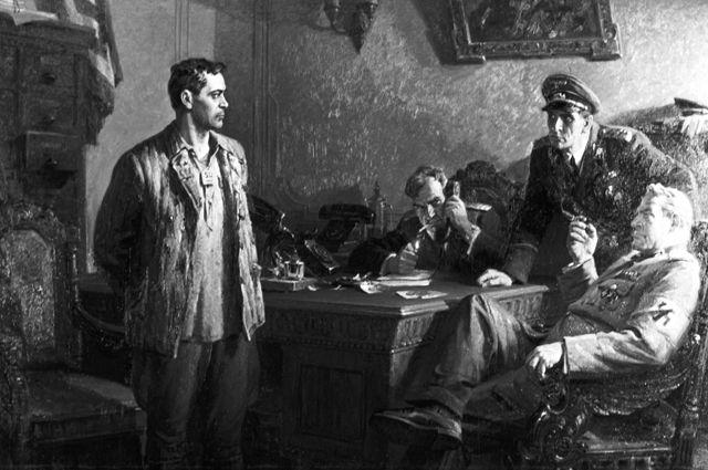 Муса Джалиль. Картина Хариса Абдрахмановича Якупова «Перед приговором», на которой изображен поэт Муса Джалиль, казненный фашистами в берлинской тюрьме в 1944 году.jpg