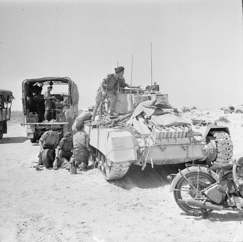 Repairs being carried out on a Valentine tank in the Western Desert, 29 July 1942.