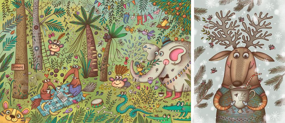 Лиза Сухно— детский иллюстратор. Рисует живые изабавные картинки для детских журналов икниг. Добр