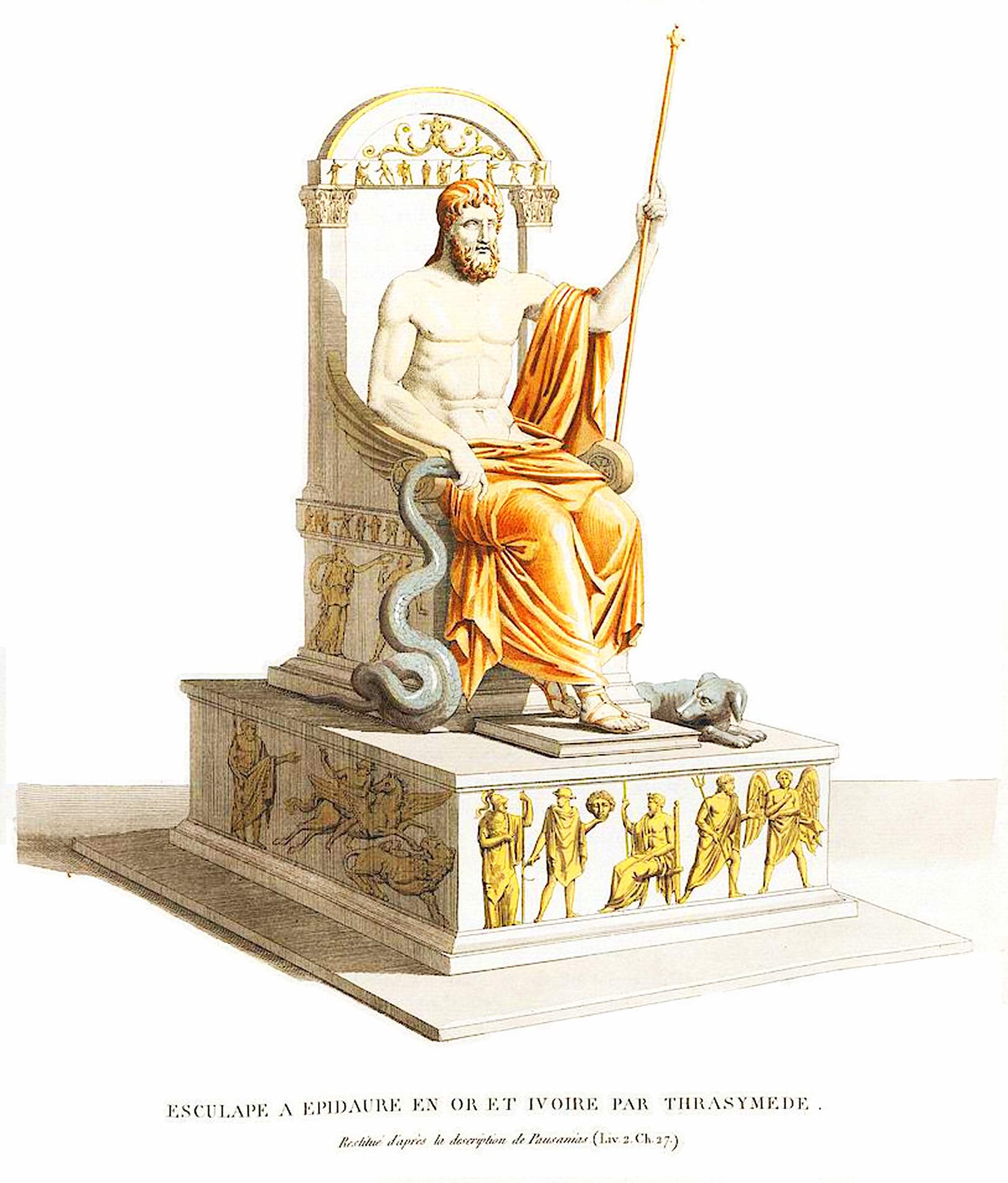 23. Святилище Асклепия в Эпидавре Esculapc a Epidaure en or et ivore par Trasymede