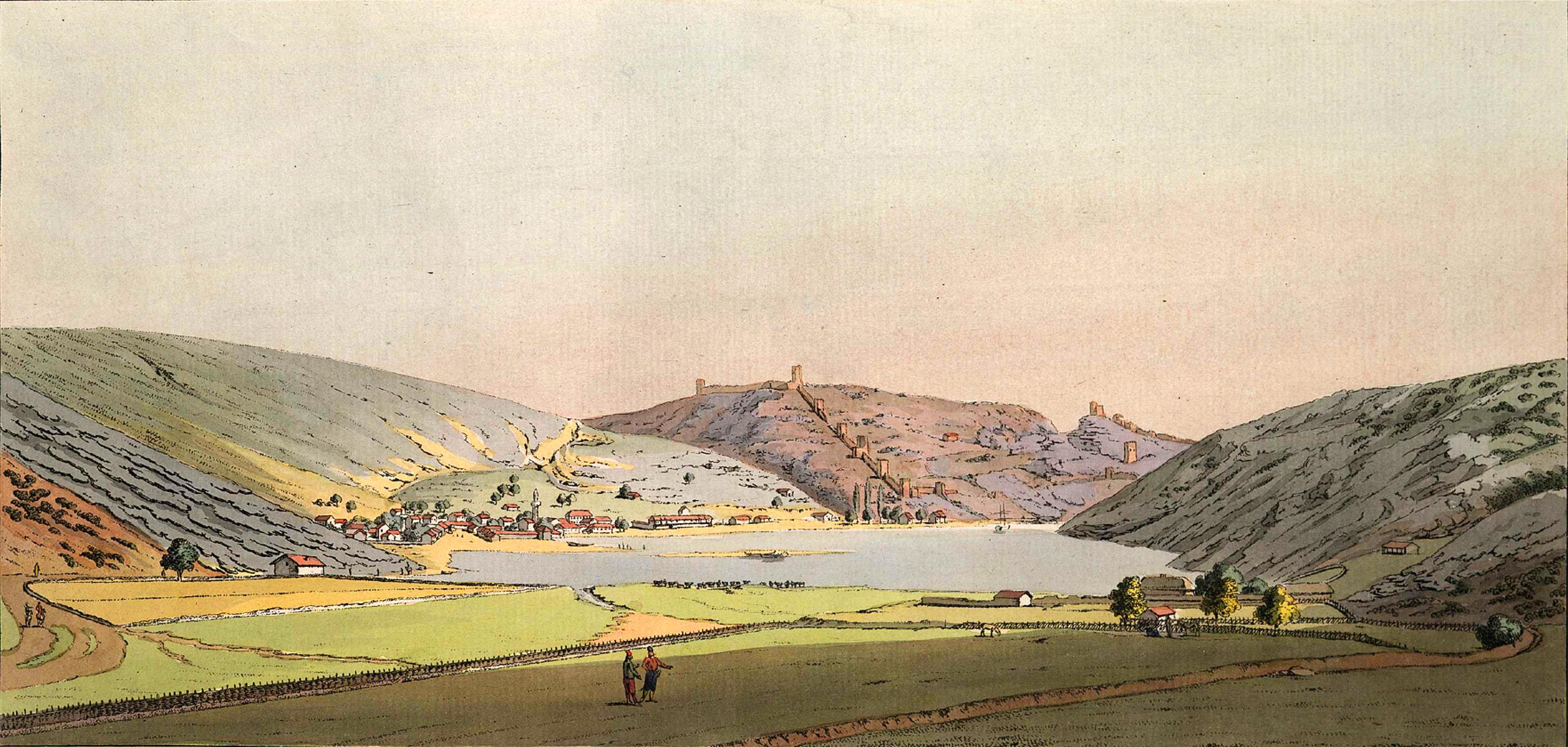 2-9. Вид Балаклавского порта с западной стороны, взятый с ее высшей точки, чтобы иметь перед собой весь город, обитаемый греками Албанского батальона и древнюю генуэзскую крепость, внизу которой примечается между высокими горами вход в порт.
