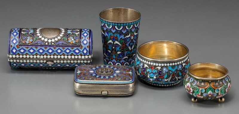 A Group of Five Russian Silver and Cloisonné Desk Items, late 19th.jpg
