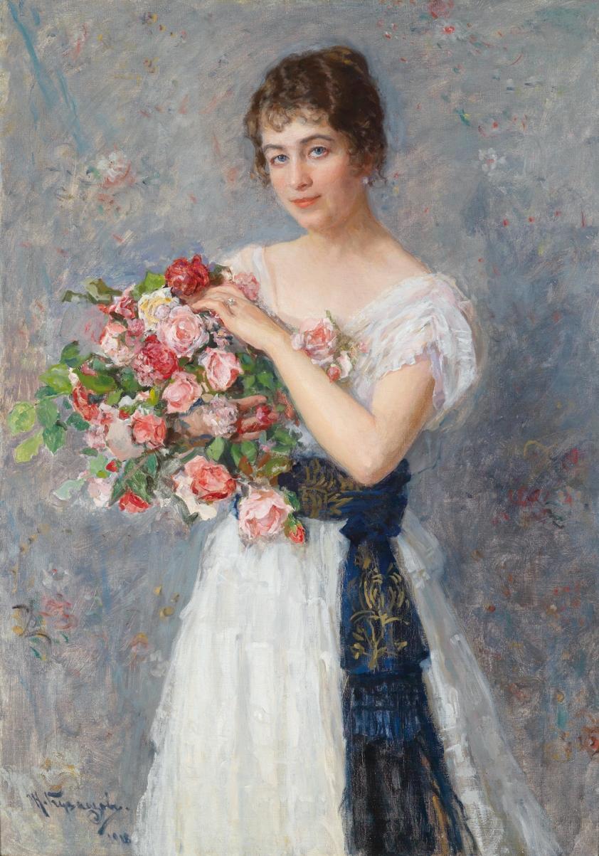 Николай Дмитриевич Кузнецов (имение Степановка Херсонской губ., 1850 – Сараево, 1929) Портрет молодой дамы с розами..jpg
