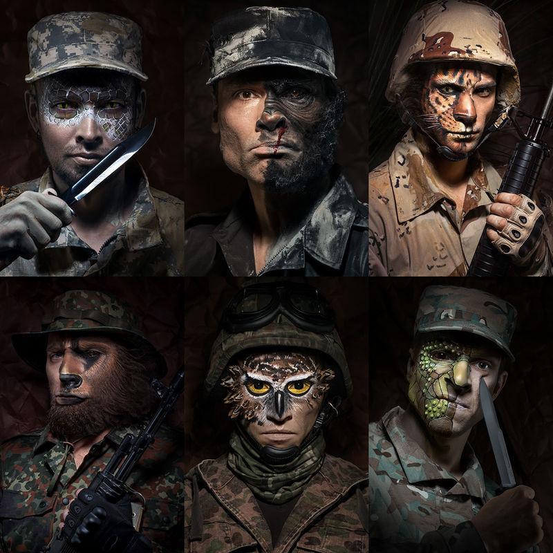Дикие воины: московский фотограф показал, как солдаты превращаются в зверей