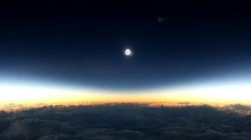 Затмение солнца - вид из самолета