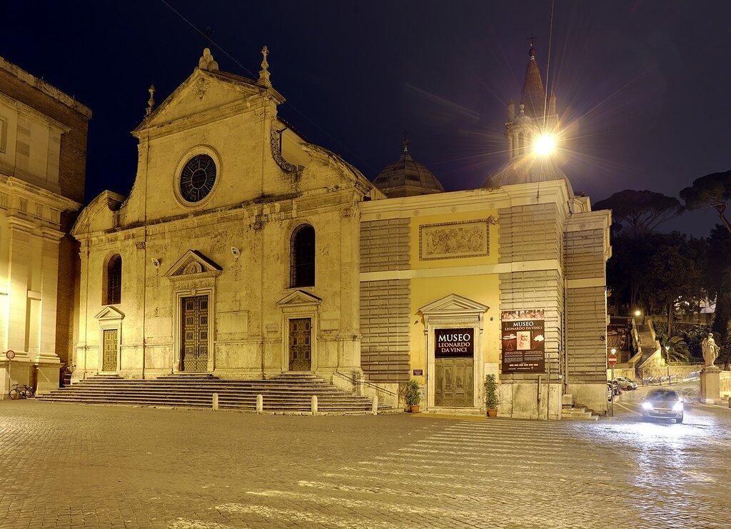 Ночной Рим. Церковь Санта-Мария-Дель-Пополо