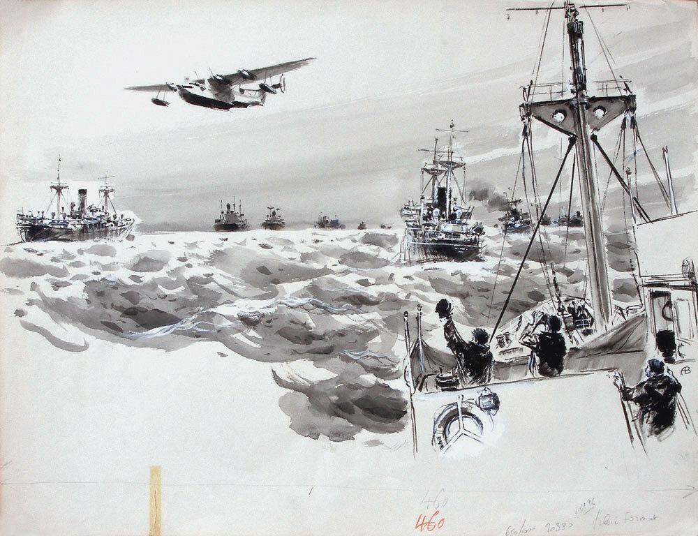 Albert Brenet - Hydravion survolant un convoi maritime