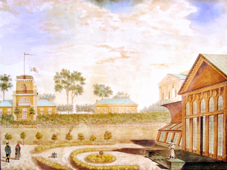14. Вид флигелей с террасой от оранжереи во фруктовом саду. Р<исовал> А<рхитек-тор> Семенов 1823-го.