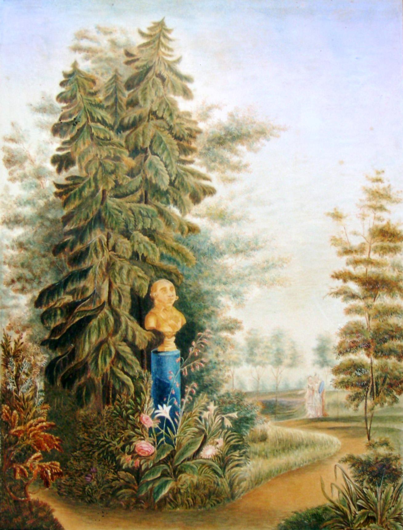 25. Бюст Императора Павла I-го в саду. Рис<овал> на кам<не> Е. М. Павловский в 1823 г.