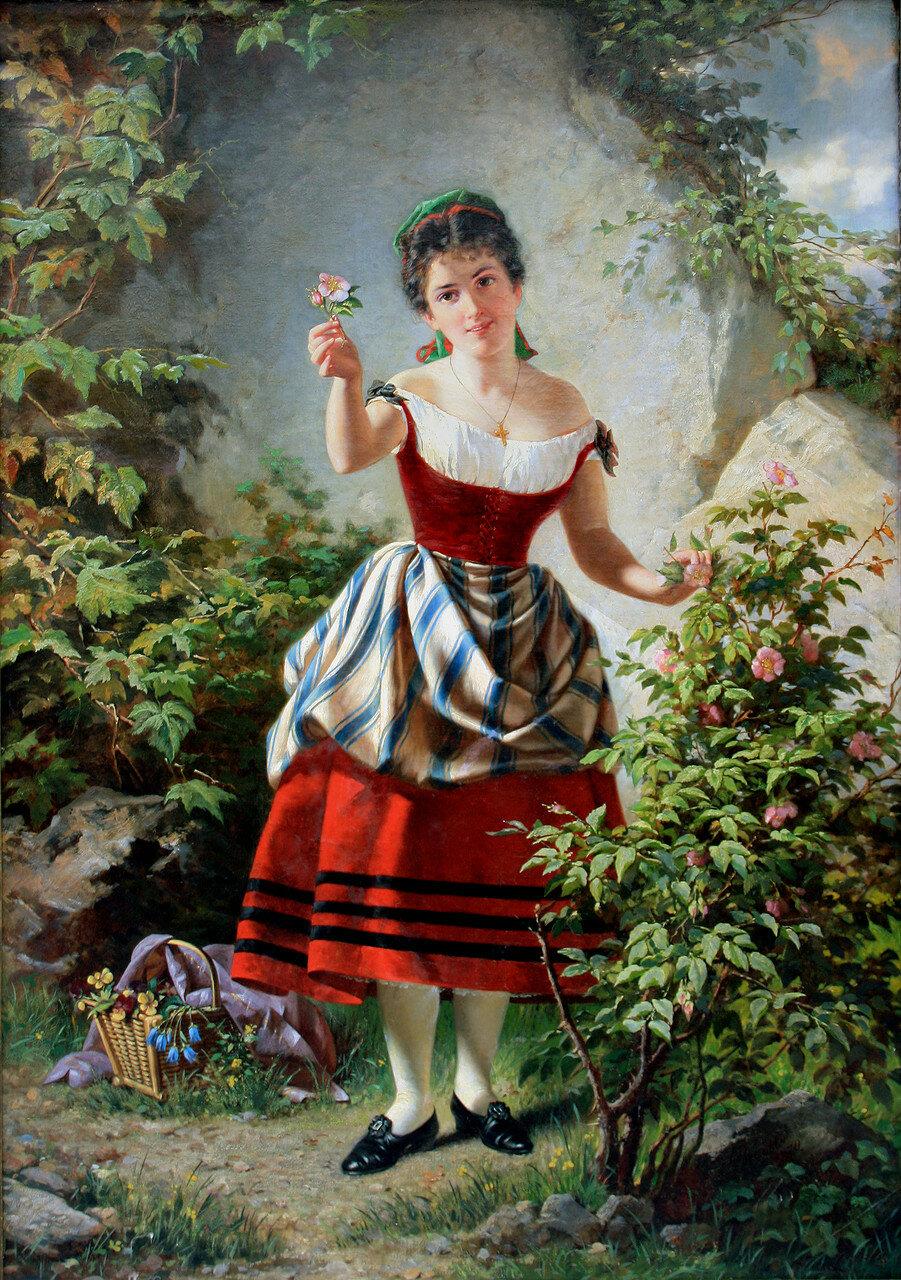 Johann (Jan) Brandeis (Czech, 1813 - 1872) Girl_with_flowers_full