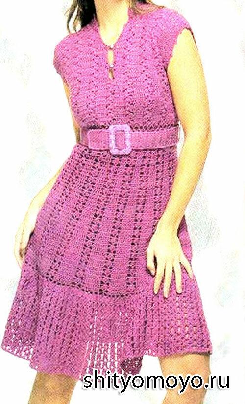 Платье цвета фуксии, связанное