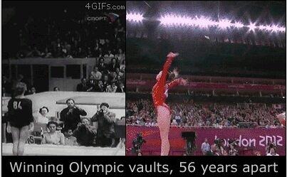 Золото в прыжке сейчас и 56 лет назад