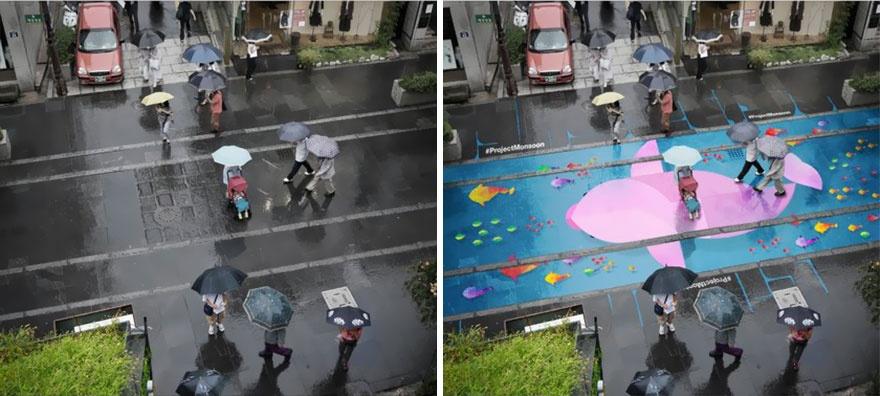 ВЮжной Корее придумали, как поднять настроение вдождливый день