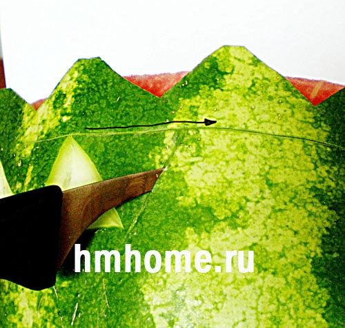 Карвинг арбуза. Простая корзинка с арбузными шариками