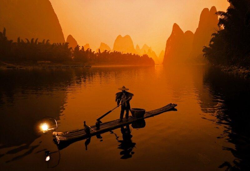 Китайская традиционная рыбалка с бакланами
