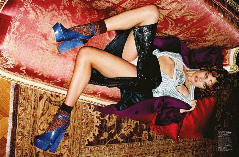 Natalia Vodianova / Наталья Водянова - винтажная дама в нижнем белье в журнале Jalouse Magazine, июль-август 2012, фотограф Matthias Vriens-McGrath