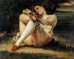 Курбе, около1861 Женщина с белыми чулками, Woman_with_White_Stockings (1248 пикс.)