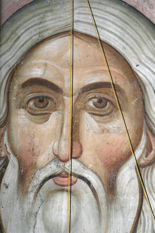 Христос Ветхий Деньми. XIV век. Фрагмент.