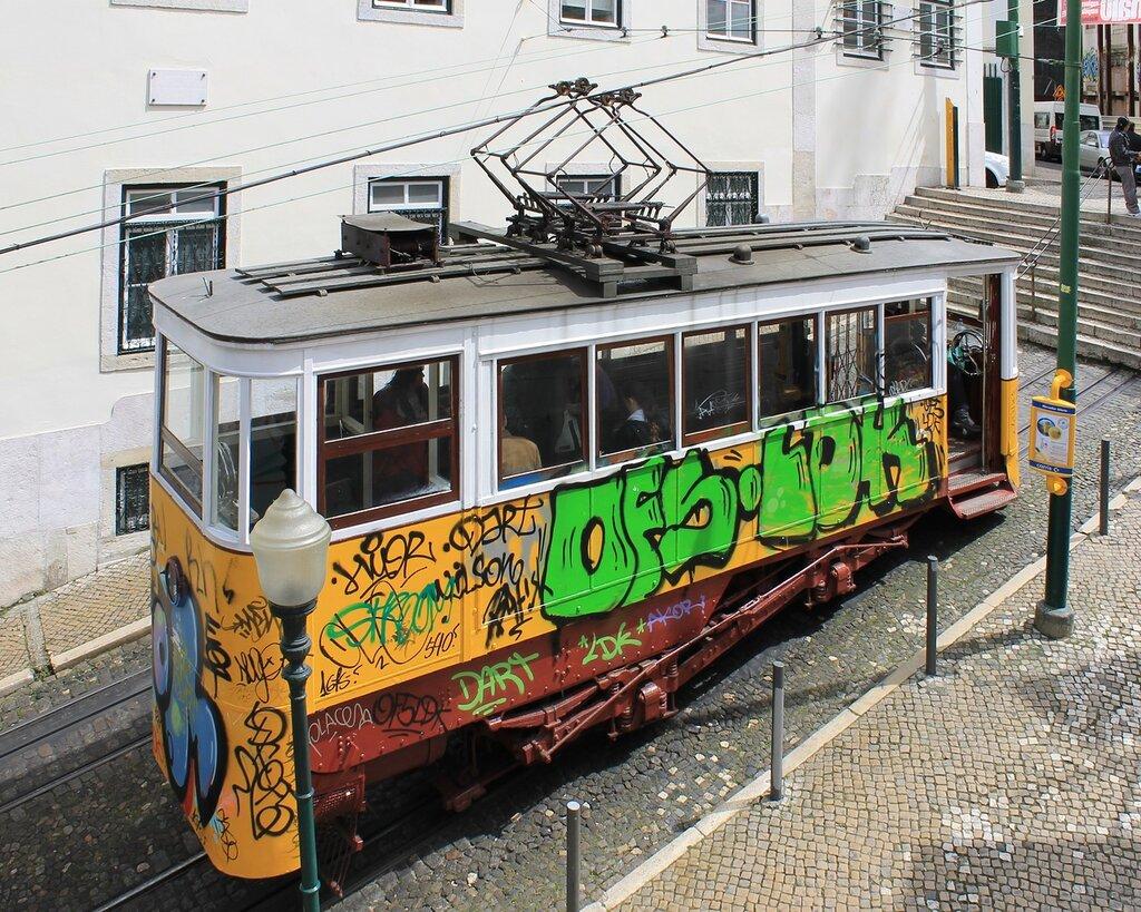 Лиссабон, фуникулер Глория. Lisboa, Ascensor da Glória, Elevador da Glória