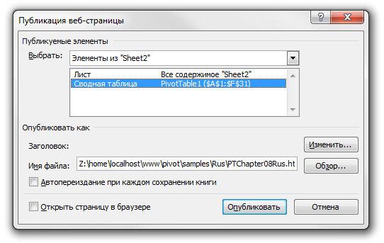 Рис. 8.5. В Excel 2003 можно опубликовать в Интернете таблицу, включающую функциональные свойства сводных таблиц