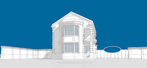 Кирпичный жилой двухэтажный дом с эркером и балконом. Проект коттеджа на одну семью, 50 кв.м. Баня, с площадью застройки по фундаменту 47 квадратных метров, в интерьере которого прослеживается образ традиционной архитектуры жилых помещений.