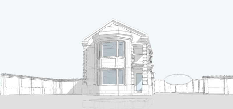 Фронтальный вид жилого кирпичного дома с эркером и балконом. Фасад, выходящий в сторону приусадебного участка.