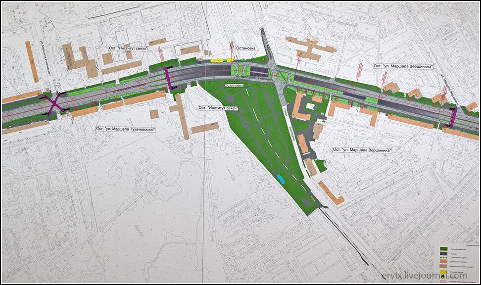 Подробный план развязки на улице Берзарина