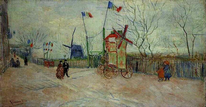 Engros- Europa Sverige Olja Måleriet Vincent Van Gogh Street Scene in Montmartre.