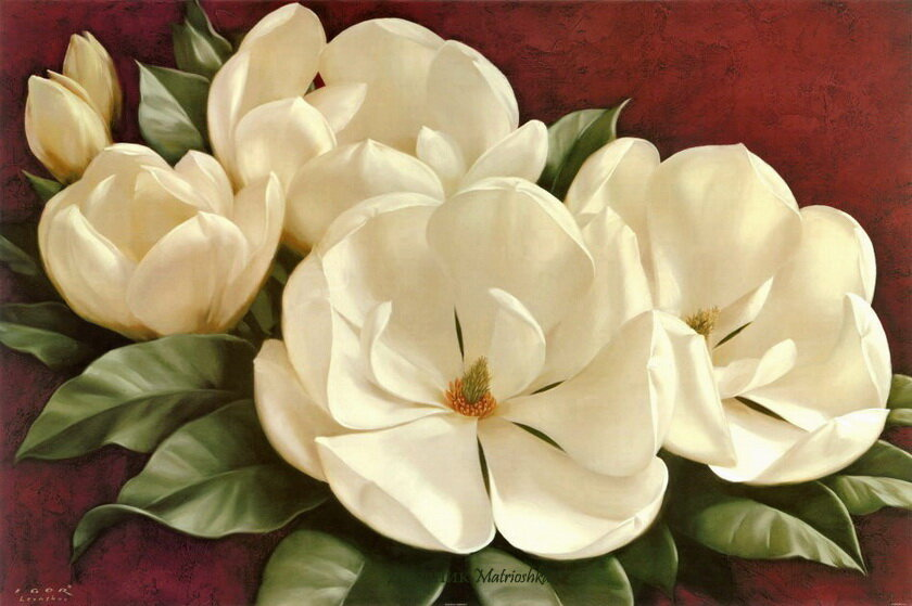 Левашов изображает на своих картинах лепестки цветов, от изящных лепестков розы до девственных лепестков тюльпана...