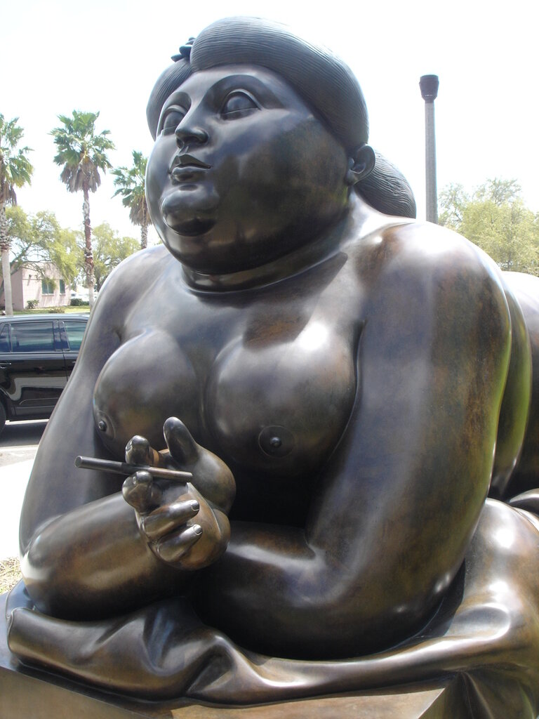 Fernando Botero, Reclining girl with cigarette, bronze sculptur, St. Petersburg, Florida, USA