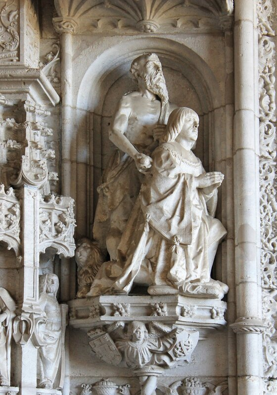 The Church of the Jerónimos monastery. Western portal. Manuel I and his patron Saint Jerome