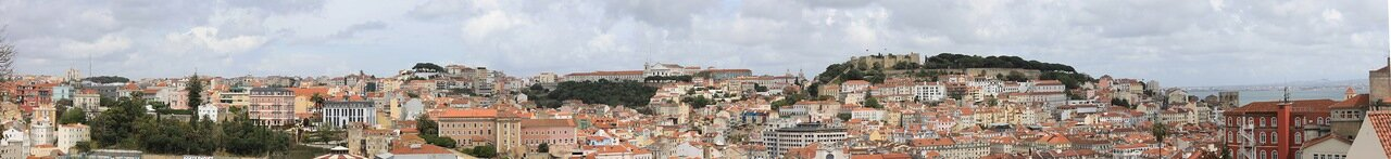 Лиссабон. вид с обзорной площадки Сан Педру де Алкантара. Miradouro de São Pedro de Alcântara. panorama