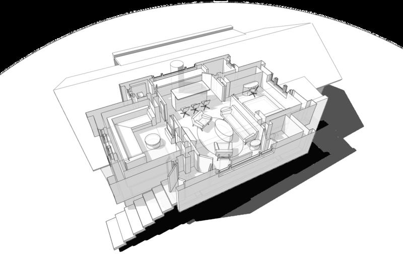 3d план с расстановкой мебели. Mod 42-96 Брусовой жилой дом 56 кв.м, классический пятистенок с дополнительными помещениями, на балконах вдоль фасадов