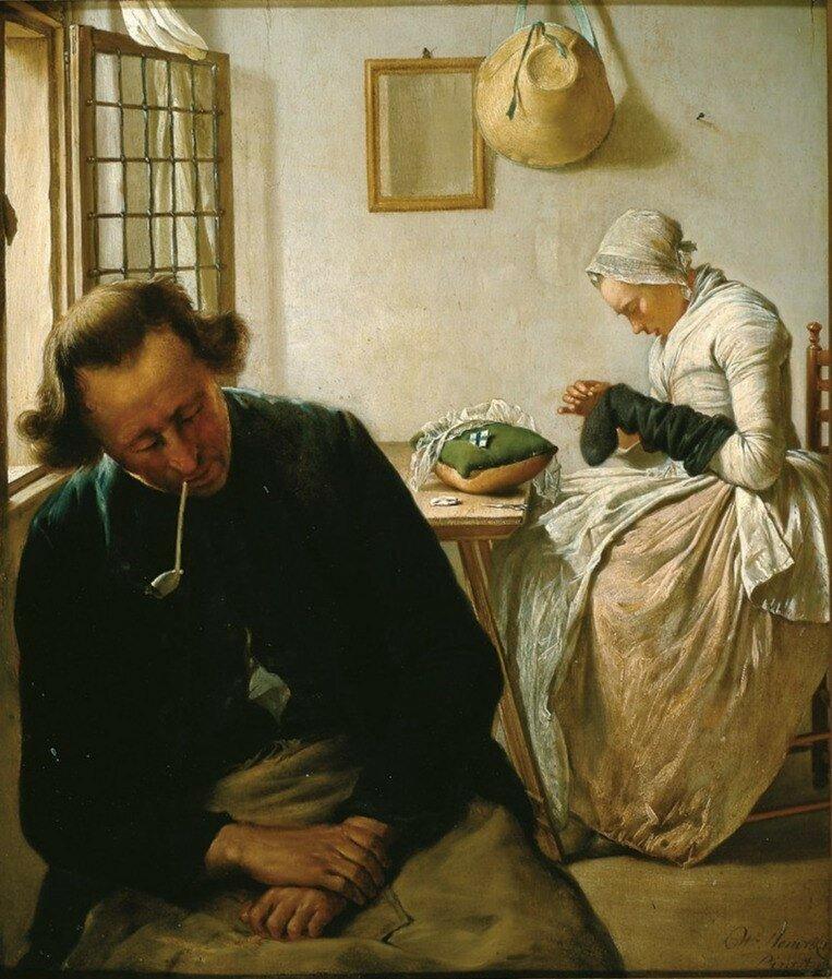 Hendriks, Wybrand - Интерьер со спящим мужчиной и женщиной, штопающей чулок, 1800-31, 38 cm x 33 cm, Дерево, масло.jpg