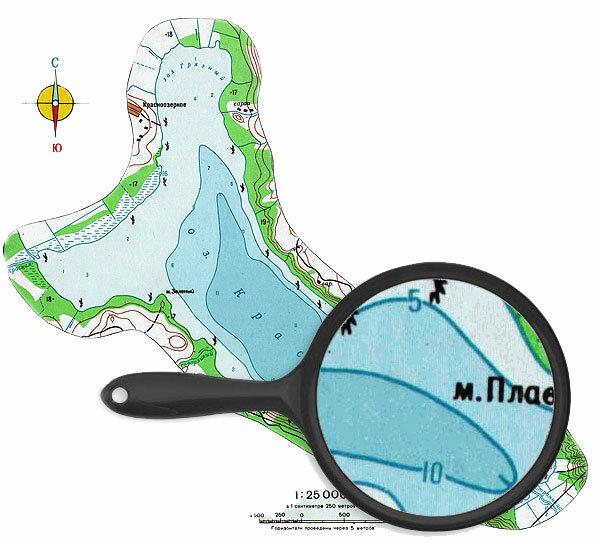 Карта глубин озера Красное, Карельский перешеек