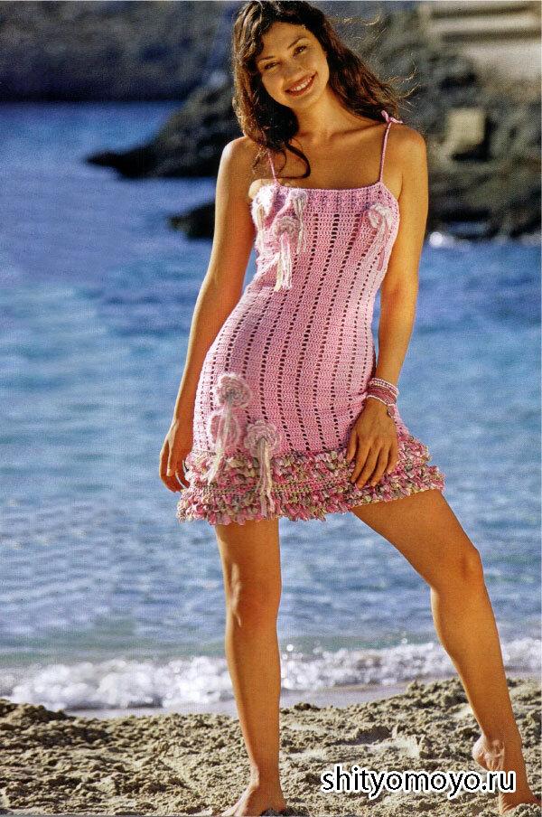 Розовое платье, связанное