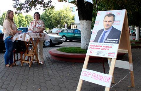 Пикет по сбору подписей за А Лебелько в Бресте