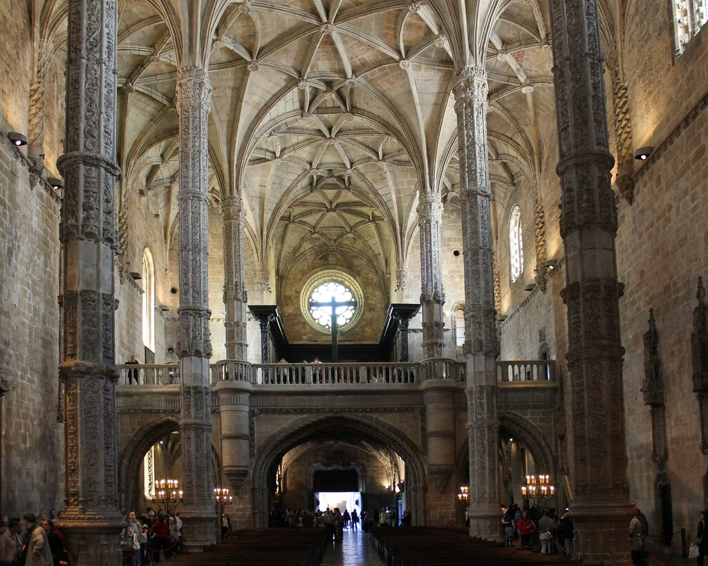 The interiors of the Church of the Jerónimos monastery