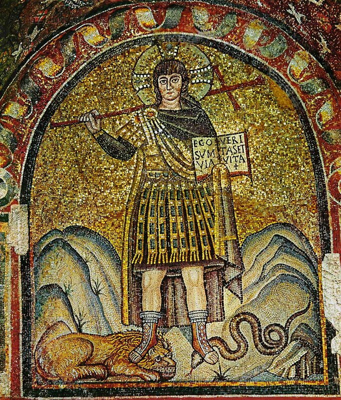 In a Byzantine mosaic, Christ appears as a Roman soldier.