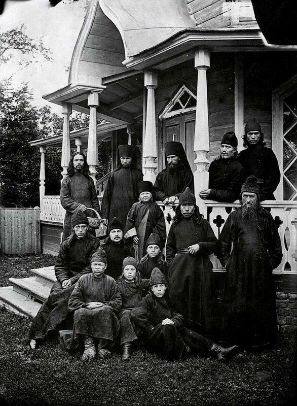 Monks of the Archangel Michael Cheremis monastery, Vasilsursk, 1894. Photo by Maksim Dmitriev.